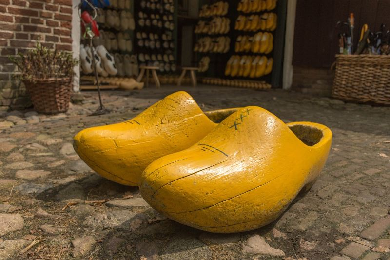 Yellow wooden clogs